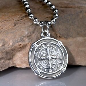 Silver Saint Benedict of Nursia round pendant stainless steel necklace SMALL