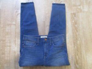 "Madewell Womens 10"" High Rise Skinny Jeans Dark Wash raw hem Size 28 Stretch"