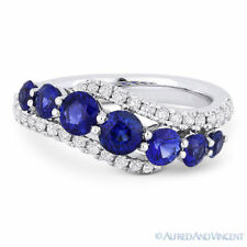 Right-Hand Ring Band in 18k White Gold 1.84 ct Round Cut Sapphire & Diamond Pave