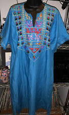 New listing 70's Embroidered Hippie Blue Kaftan Dress Robe Size L?