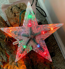 "Kurt Adler 10 Light 5 Point Snowflake Christmas Star Tree Top 7"" In Clear Silver"