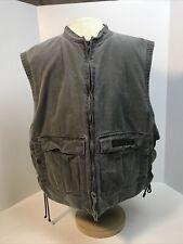 Harley Davidson Mens Vest Gray Flap Pocket Side Lace Up Crew Neck 100% Cotton Lg