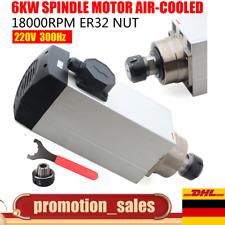 6KW 20.8A Fräsmotor ER32 Air-Cooled Spindle Fräs-spindel for CNC Router 18000rpm