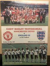 Manchester United v England XI Gary Bailey Testimonial Programme Season 1986-87