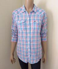 Hollister Womens Plaid Shirt Size Medium Button Down Top Blouse Colorful