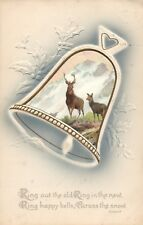 Classic White Christmas Deer and Bell Vintage  Postcard