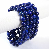 8MM Unisex Natural Lapis Lazuli Healing Beads Stone Stretch Bangle Bracelet Gift