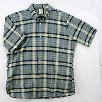 Vtg 60s ARROW CUM LAUDE Blue Plaid S/S SANFORIZED Button Shirt Men's XL 17 17.5