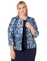 Kasper Blazer Jacquard Open Front Jacket Plus Blue Sz 22W NEW NWT 325