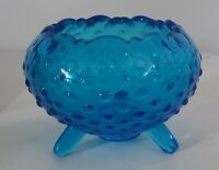 Fenton Glass Art Colonial Blue MCM Footed 3 Legs North American Pottery Hobnail