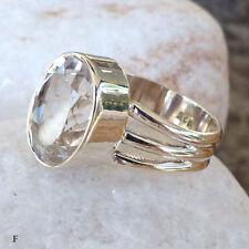 Solitäre Echte Edelstein-Ringe aus Sterlingsilber mit Bergkristall