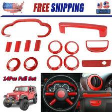 14Pcs Car Interior Accessories Cover Trim Kit Red For Jeep Wrangler Jk 2007-2010