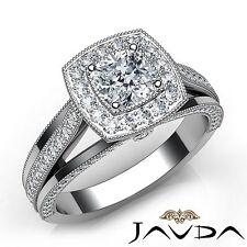 Bezel Ring Gia H Vvs2 1.4Ct Milgrain Edge Split Shank Cushion Diamond Engagement