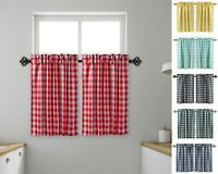 "Aiking Home 2 pcs Picnic Checkered Kitchen Curtain Tiers with 2.5""  Rod Pocket"