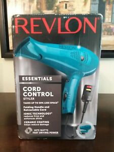 New Revlon Essentals Cord Control Styler 1875 Watts Fast Drying Power