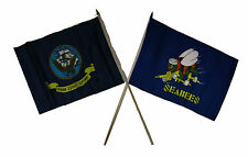 "12x18 12""x18"" Wholesale Combo Navy Ship & Seabees Sea Bees Stick Flag"