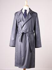 NWT $1495 EMPORIO ARMANI Lightweight Wool Trench Coat Slim 48/38 Charcoal Gray