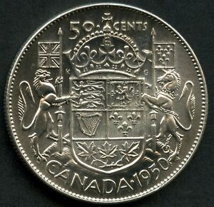 "1950 Canada Silver 50 Cents ""No Design 0"" 11.66 Grams .800 Silver"
