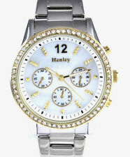 Henley Ladies Two Tone Quartz Watch with Real Sparkly Crystals, Womens Gift Idea