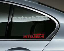 Powered by MITSUBISHI Sport Racing Window Decal sticker emblem logo RED Pair