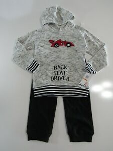 Kids Headquarters Boys Back Seat Driver 2 Piece Hooded Shirt and Pants Nwt