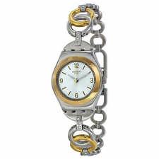RING BLING! Stylish Irony Lady Swatch w Gold & Silver Fliplock Bracelet-NIB!