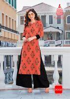Indian kurta dress With  palazzo  Top Tunic Set blouse Combo Ethnic Bottom-kj04