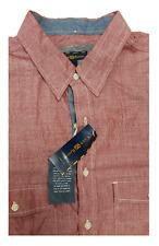 Club Room Red Striped Short Sleeve 100% Cotton Shirt LT Big & Tall
