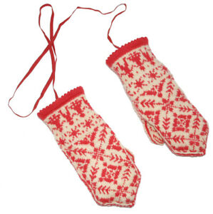 The Authentic Selbu Mittens 100%Pure Wool Norwegian Handmade Red and White Large