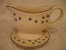 Boyds Bearware Pottery Works Tan/Brown Paw Print Gravy Boat & Under Tray Mint
