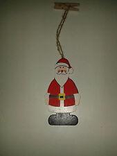kl. Holz-Weihnachtsmann zum Aufhängen, incl. Holzwäscheklammer