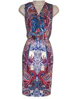 EX CHAINSTORE - CREAM/RED/BLUE/MULTI PAISLEY WRAP STYLE DRESS - SIZES 8/10-16/18