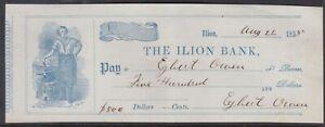 1855 USA / US / United States THE ILION BANK (New York) Bank Check Pay to $500