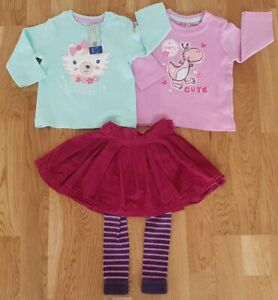 JoJo Maman Bebe 6-12 months girl pink rabbit outfit new skirt pink tops leggings