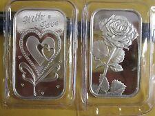 2 x 1 oz  .999 Fine love  Silver rose heart bullion  Bars