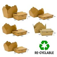 Kraft Food Box Deli Takeaway Noodles Rice Pasta Folding Lids Biodegradable