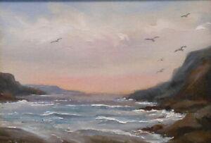 Morning Tide, 5x7 original oil painting Celene Farris Maine ocean sunrise sea