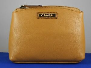Calvin Klein Camel Pebble Leather Zip Top Dome Cosmetic Bag H3JRA2DD $78