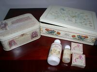 SET OF 2 RARE VINTAGE POTTER AND MOORE COLLECTABLE TINS AND TOILETRIES