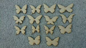 Set Of 14 Wooden butterfly Shapes 50mm MDF Craft Shapes, Blank Embellishment.