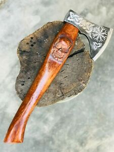 Hand forged Cold steel Viking Axe W/ Skull Engraved Handle Wooden Tactical Axe