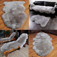 Grey Soft Faux Imitation Sheepskin Chair Cover Pad Carpet Fluffy Fur Room Rug UK