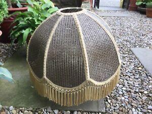 Vintage super large bohemian rattan scalloped fringed shade boho tiki light lamp