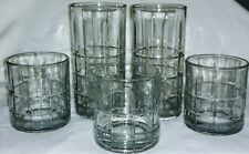 Vintage Anchor Hocking Tartan High Ball Rocks Glasses Bar Ware Kitchenware