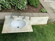 Vintage Antique Marble Bath Sink with Backsplash Vitreous China Basin
