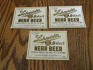 Paul 3 Vintage Schmidt/'s 1920/'s Near Beer Prohibition Era Labels St Minnesota