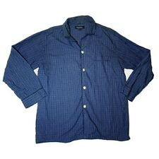 Brooks Brothers M Button Down Nightshirt Plaid Blue Black Front Pocket