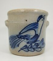 "Rowe Pottery Works AARFAC Salt Glazed Folk Art Bird 3"" CROCK"