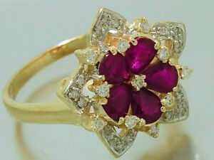 s R207- Superb 9ct Solid Gold NATURAL Ruby & Diamond Cherry Blossom Ring size M