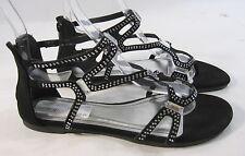 verano Negros Planos pedrería Tobillo REPUESTOS SeXy Zapatos de gladiador